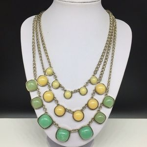 Ann Taylor Loft Green Yellow Necklace Gold Tone
